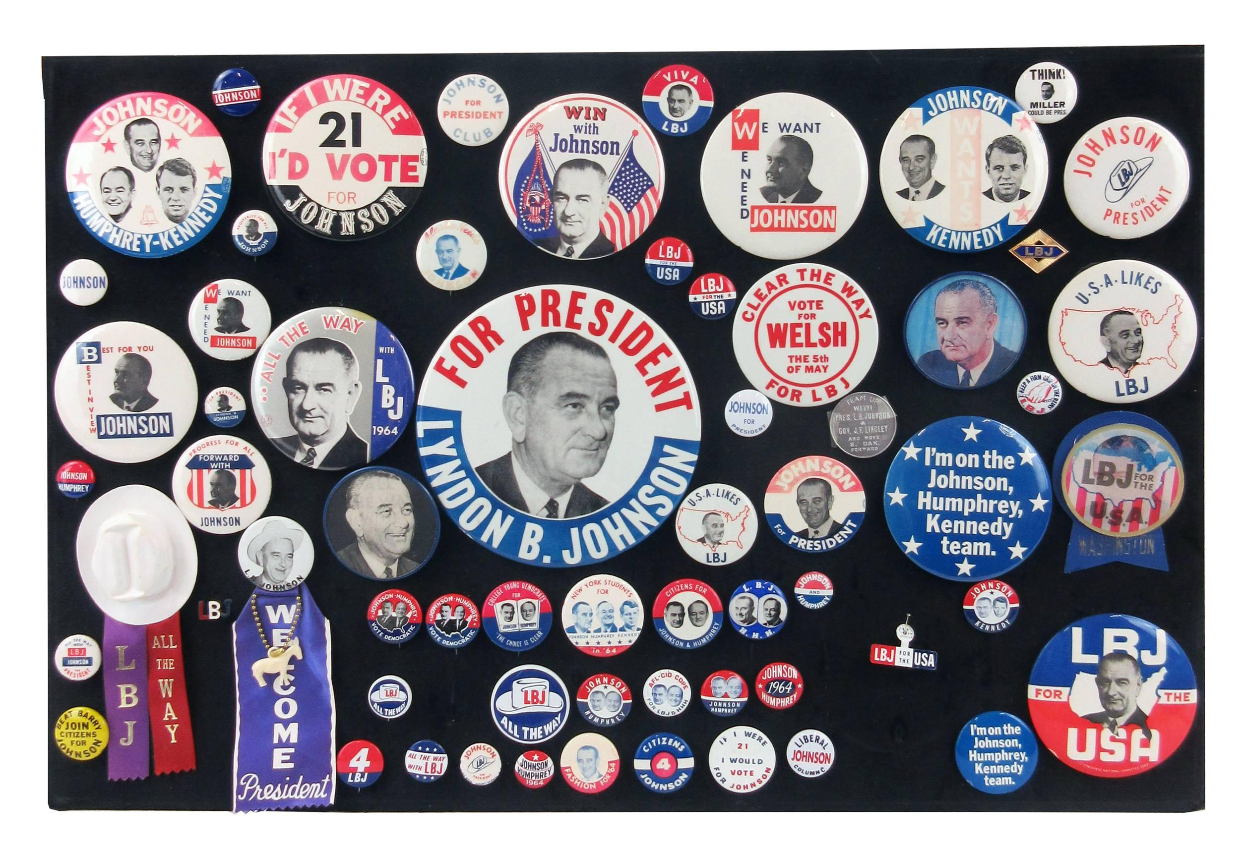 Lyndon B. Johnson Campaign Pinbacks & Memorabilia, 60+ Pcs