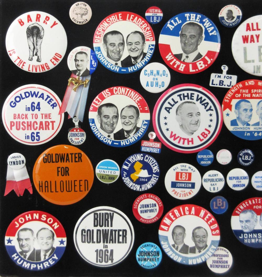 Lyndon B. Johnson & Anti-Goldwater Campaign Pinbacks & Memorabilia, 55+ Pcs