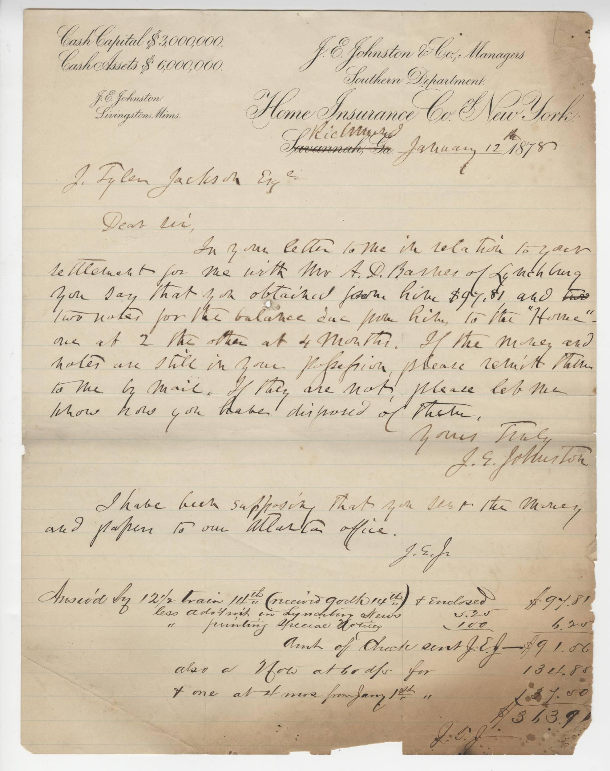 Joe Johnston Confederate General, DS Signed Three Times