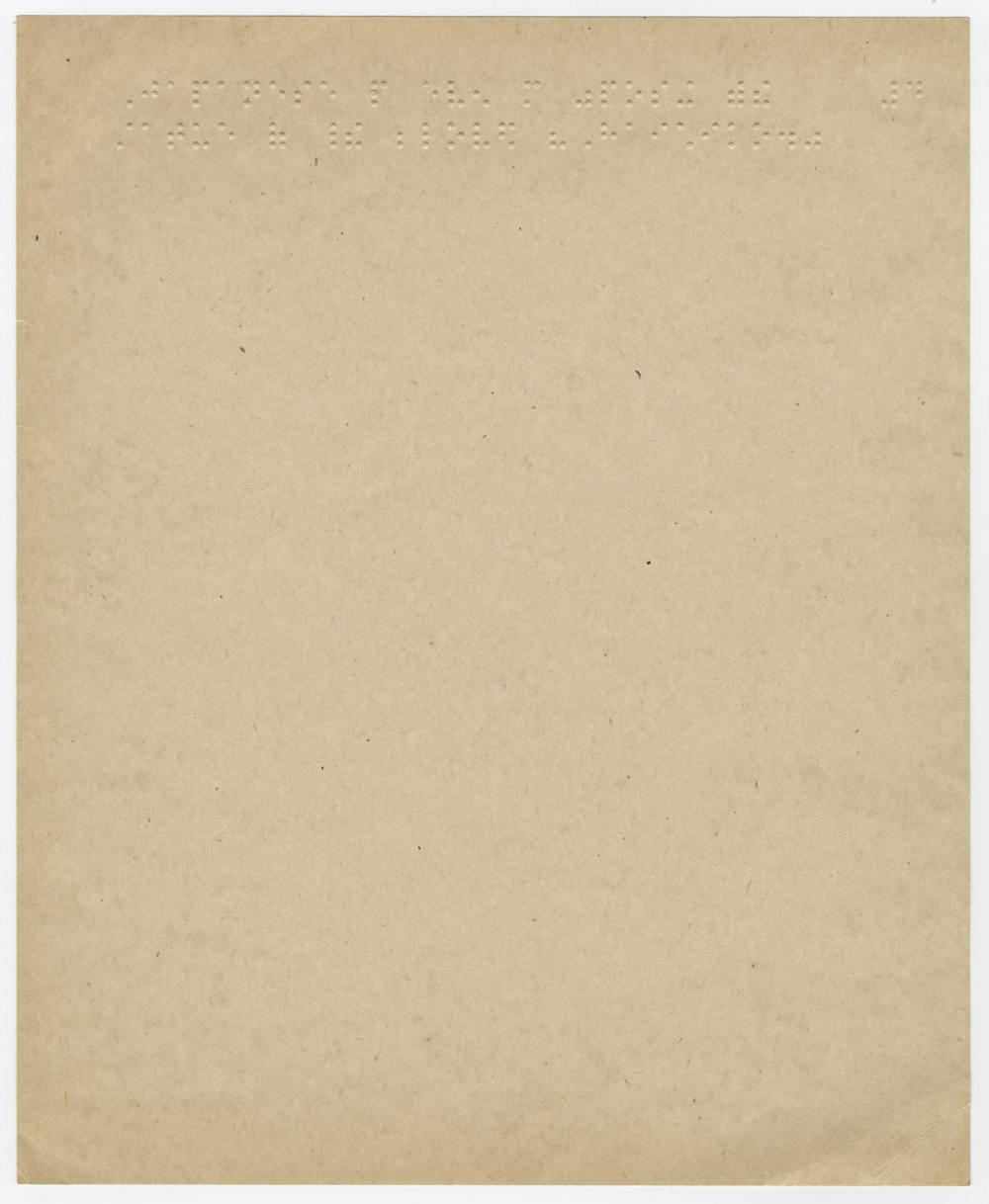 A Page of Braille Owned by Helen Keller