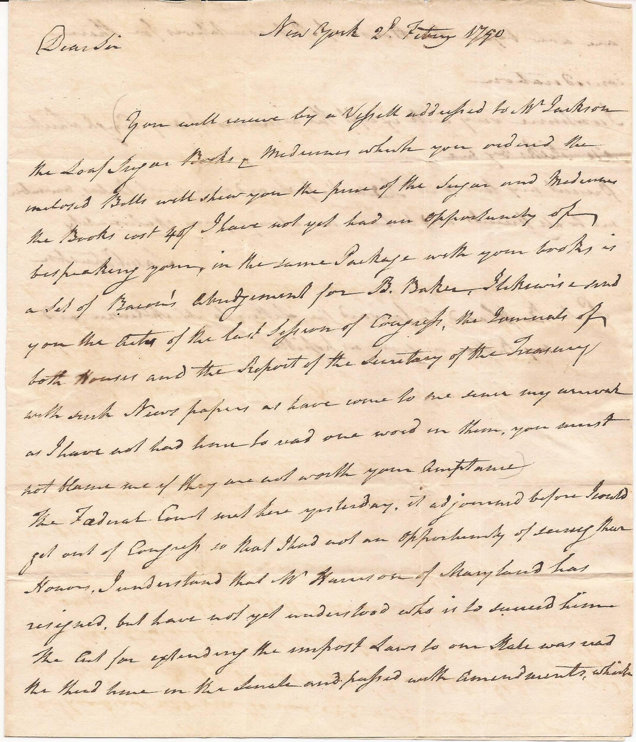 U.S. Senator Johnston of North Carolina Writes to His Protégé James Iredell Just Days Before Washington Nominates Iredell as One of the First Justices of the Supreme Court