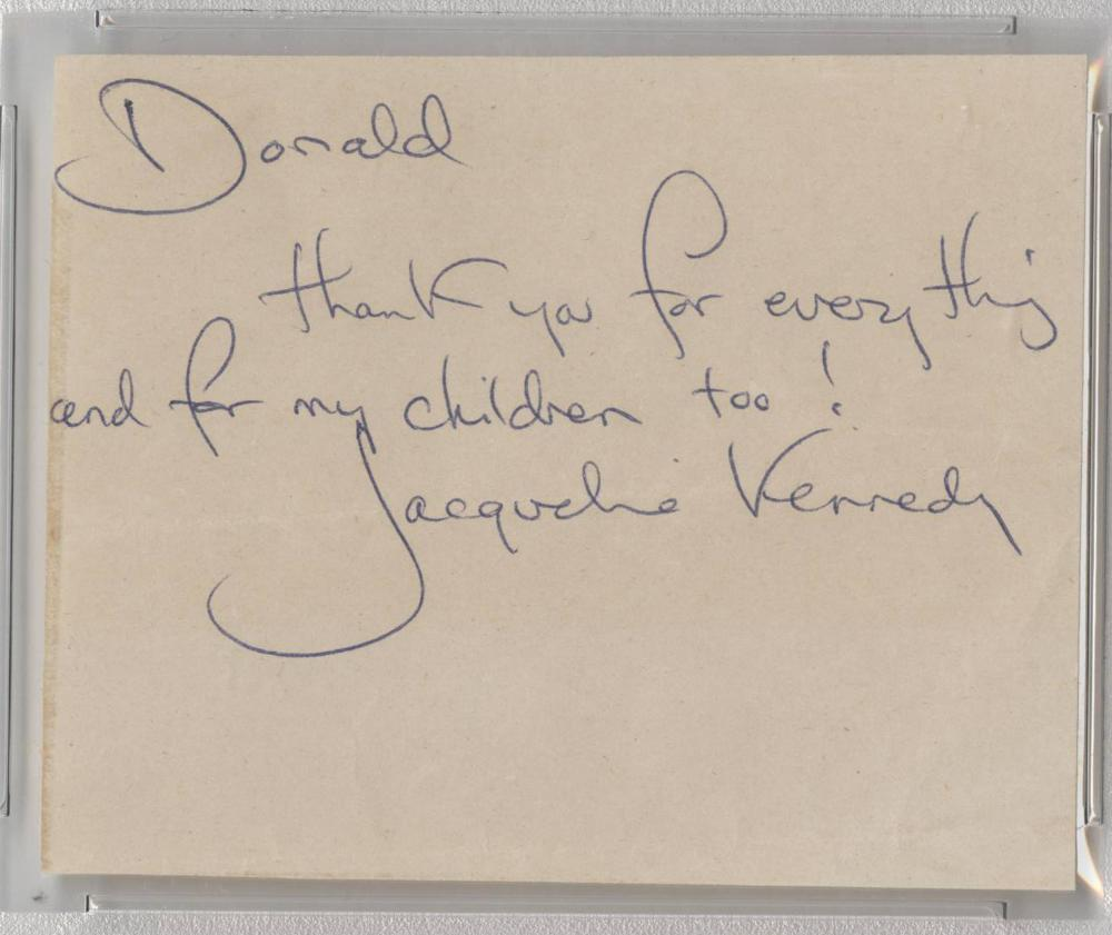 Superb Jacqueline Kennedy Signature and Inscription, PSA slabbed and graded MINT 9