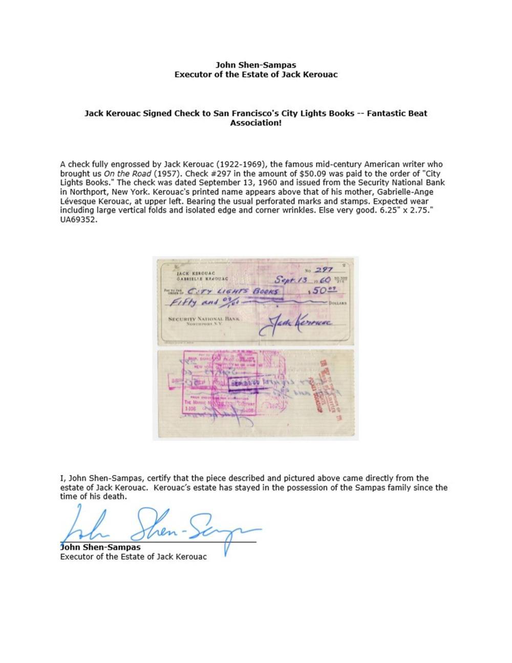 Jack Kerouac Signed Check to San Francisco's City Lights Books -- Fantastic Beat Association!