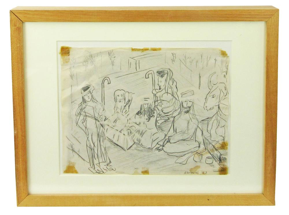 Jack Kerouac Original Drawing Depicting the Nativity