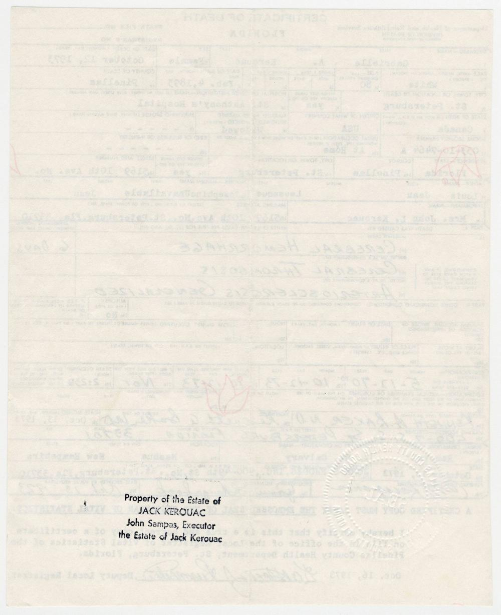 Jack Kerouac's Mother's Embossed Death Certificate, Estate-Owned
