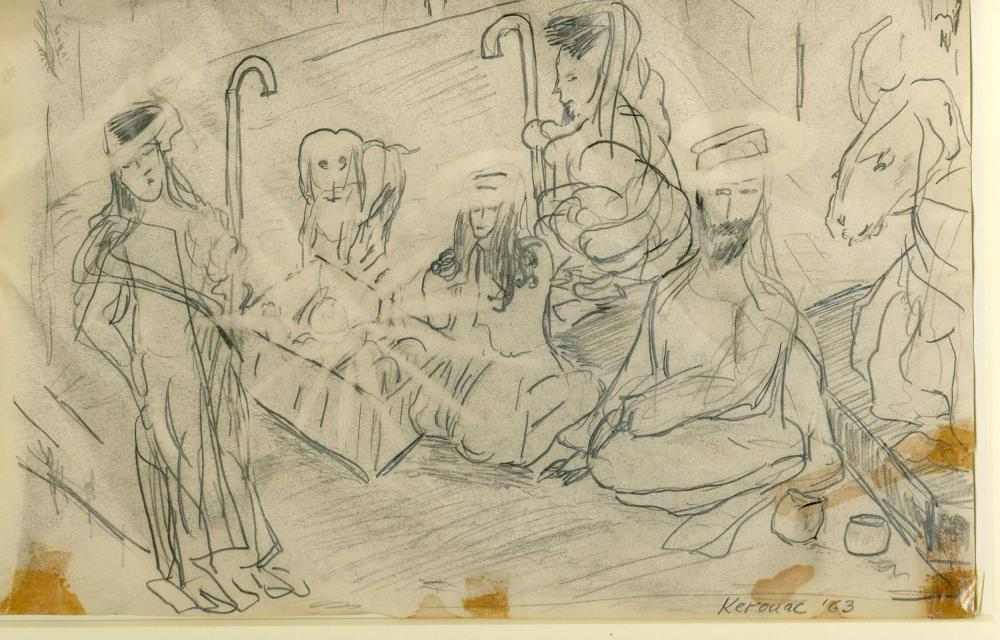 Jack Kerouac Original Drawing Depicting the Nativity