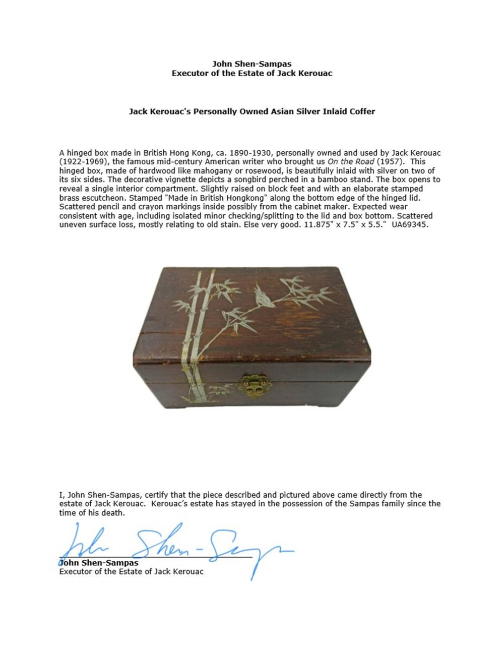 Jack Kerouac's Personally Owned Asian Silver Inlaid Coffer