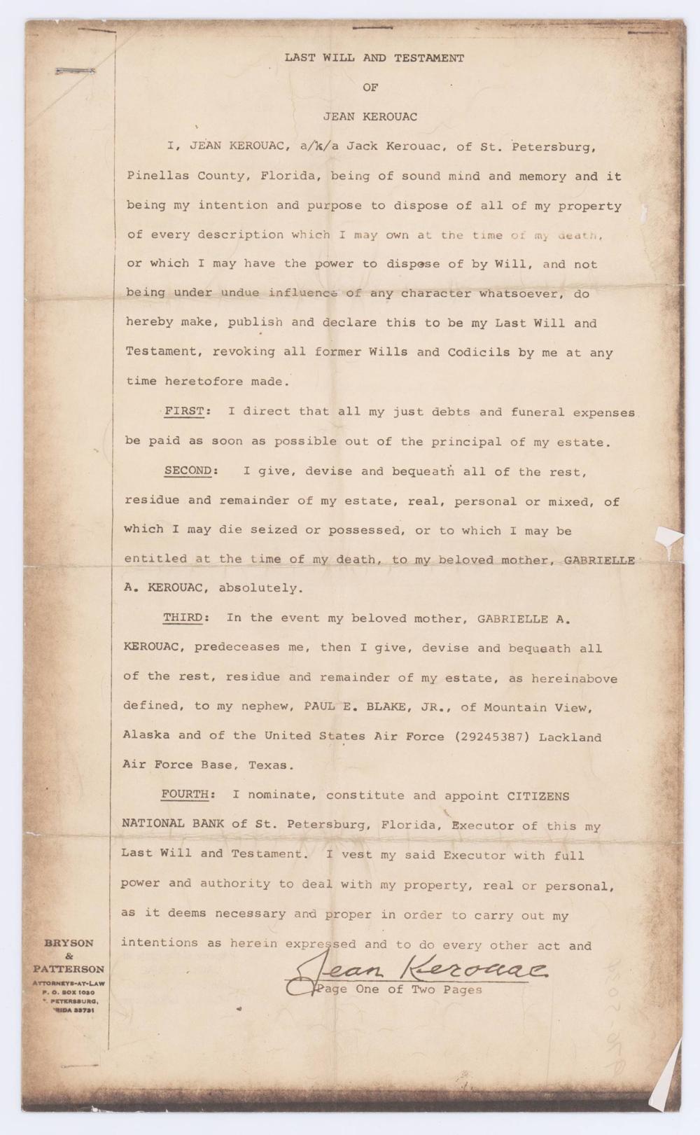 Jack Kerouac's Last Will & Testament, Official Estate Copy