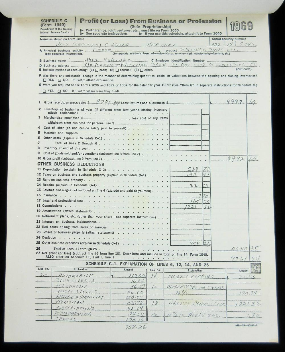 Jack Kerouac's Last Federal Tax Return, Official Estate Copy