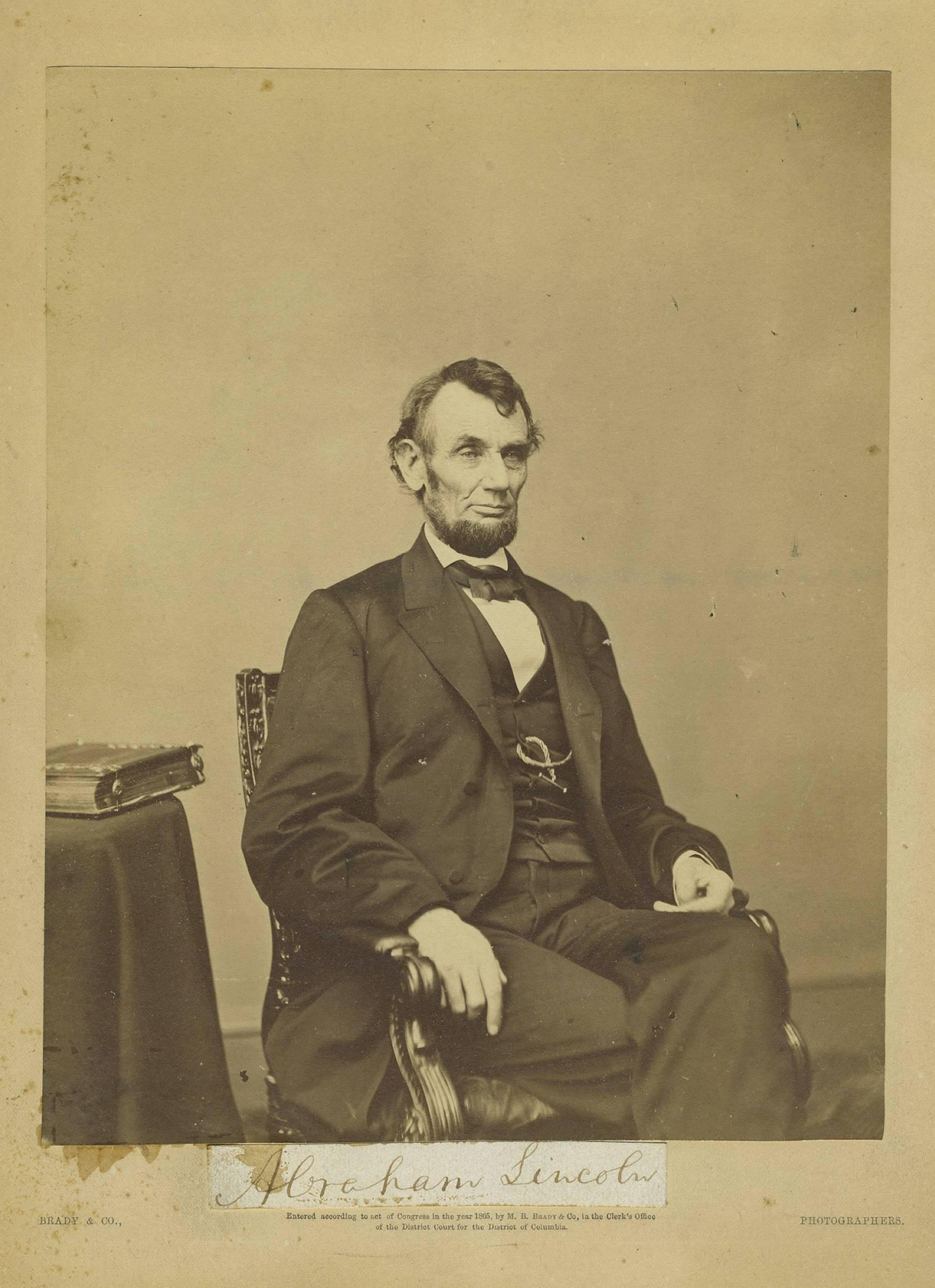 A. Lincoln Large Rare Photo, With Superb Full Signature, Outstanding Display