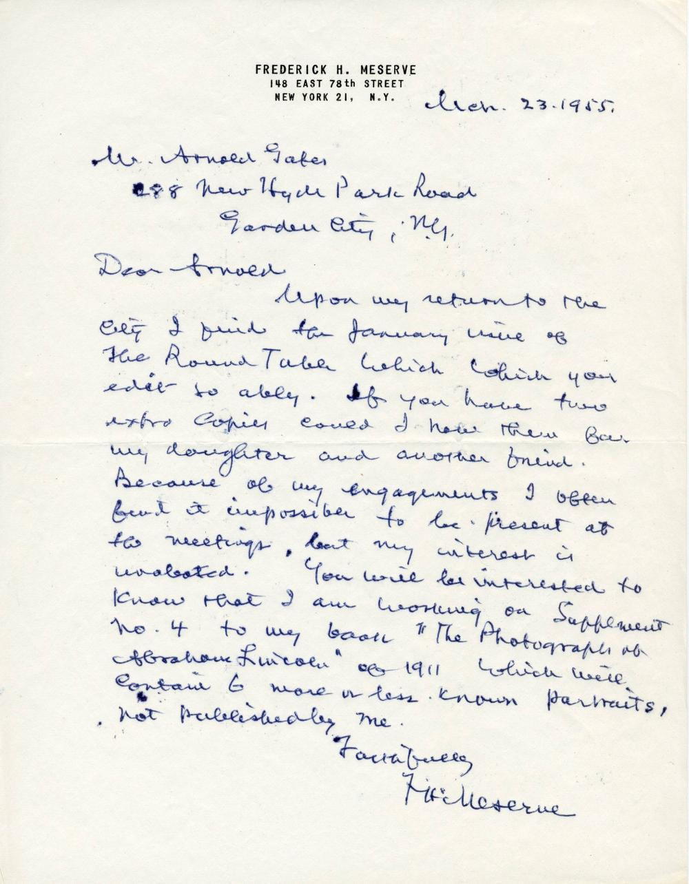 """Abraham Lincoln Collector Frederick H. Meserve ALS Re: Supplementing 1911 """"Photographs of Abraham Lincoln"""""""