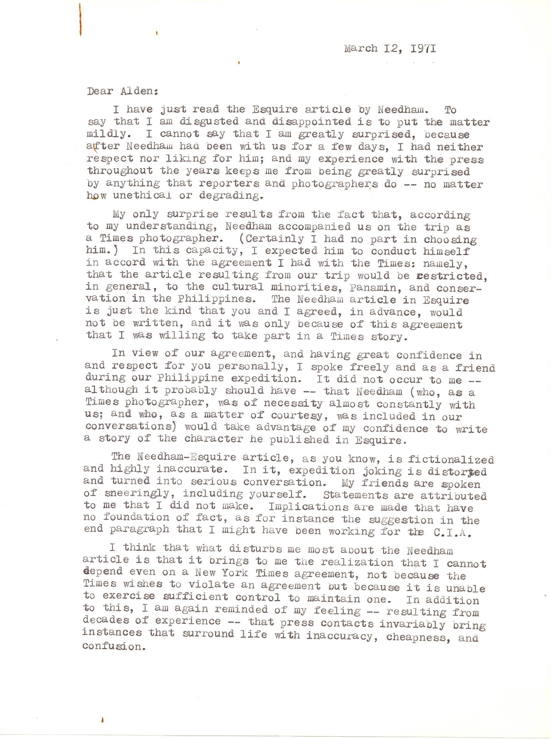 Lindbergh Scoffs at Idea of Him Working for the CIA and Assails the Press