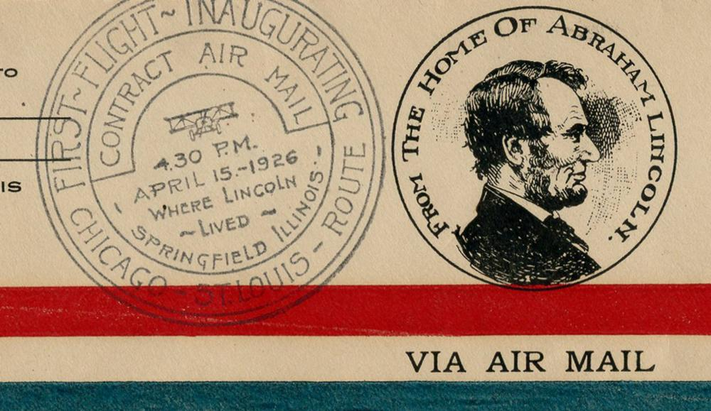 Charles A. Lindbergh Signed Pre-Paris Flight First Day Cover Inaugurating Chicago to St. Louis Mail Service