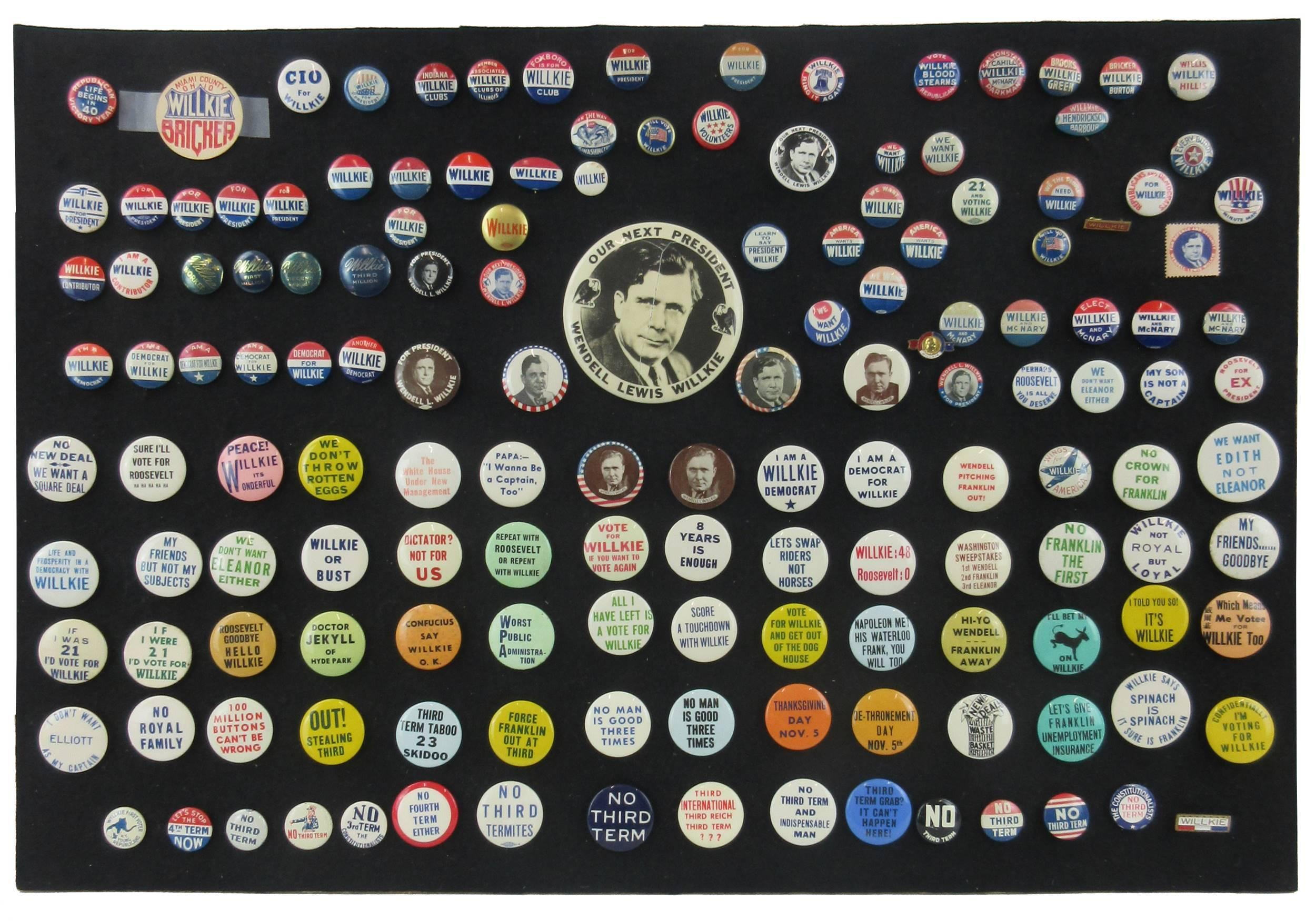 Wendell Willkie & Anti-Roosevelt Campaign Pinbacks & Memorabilia, 140+ Pcs