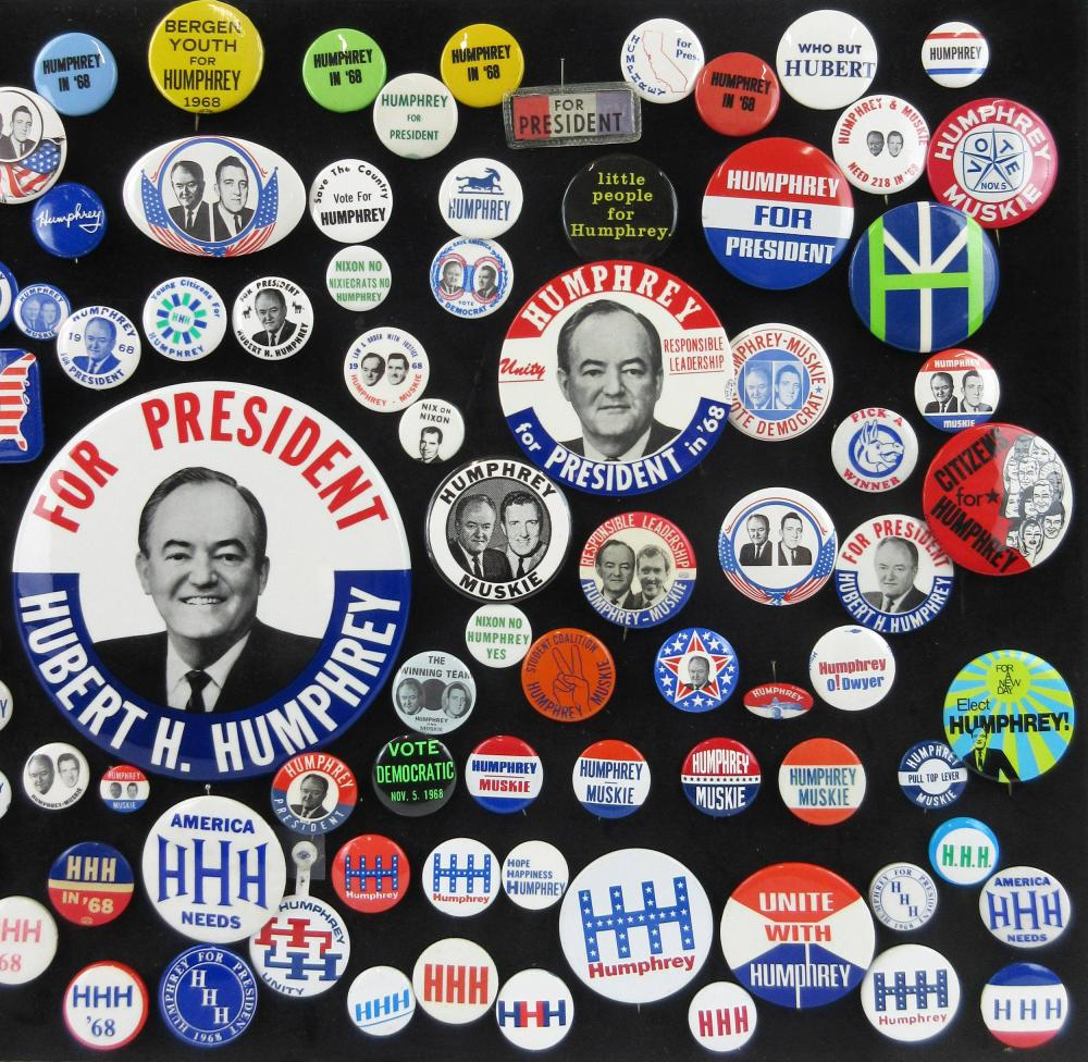 1968 Presidential Election & Anti-Nixon Campaign Pinbacks & Memorabilia, 105+ Pcs