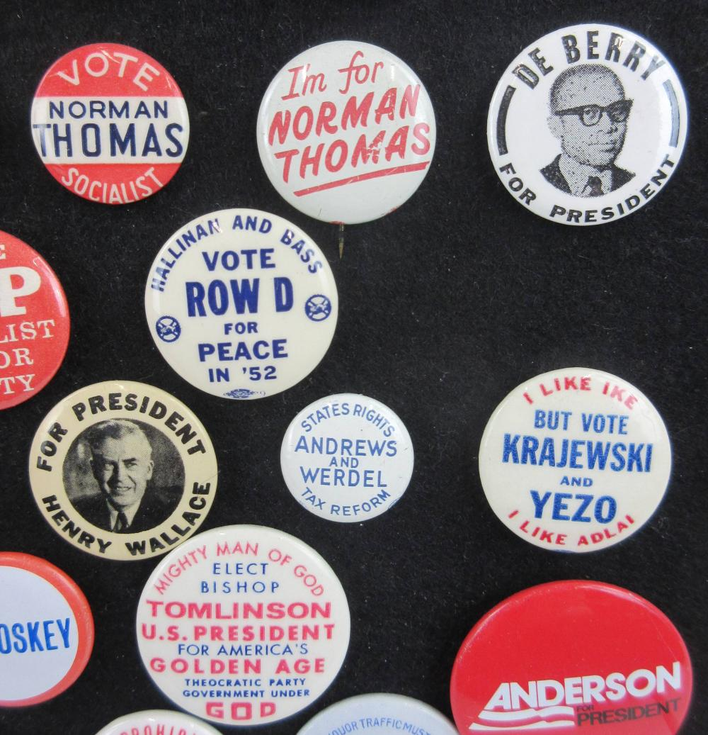 Alternative & Fringe Party Campaign Pinbacks & Memorabilia, 110+ Pcs, Ca. 1940-1996