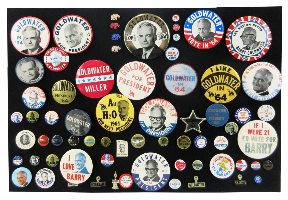 Barry Goldwater Campaign Pinbacks & Memorabilia, 60+ Pcs