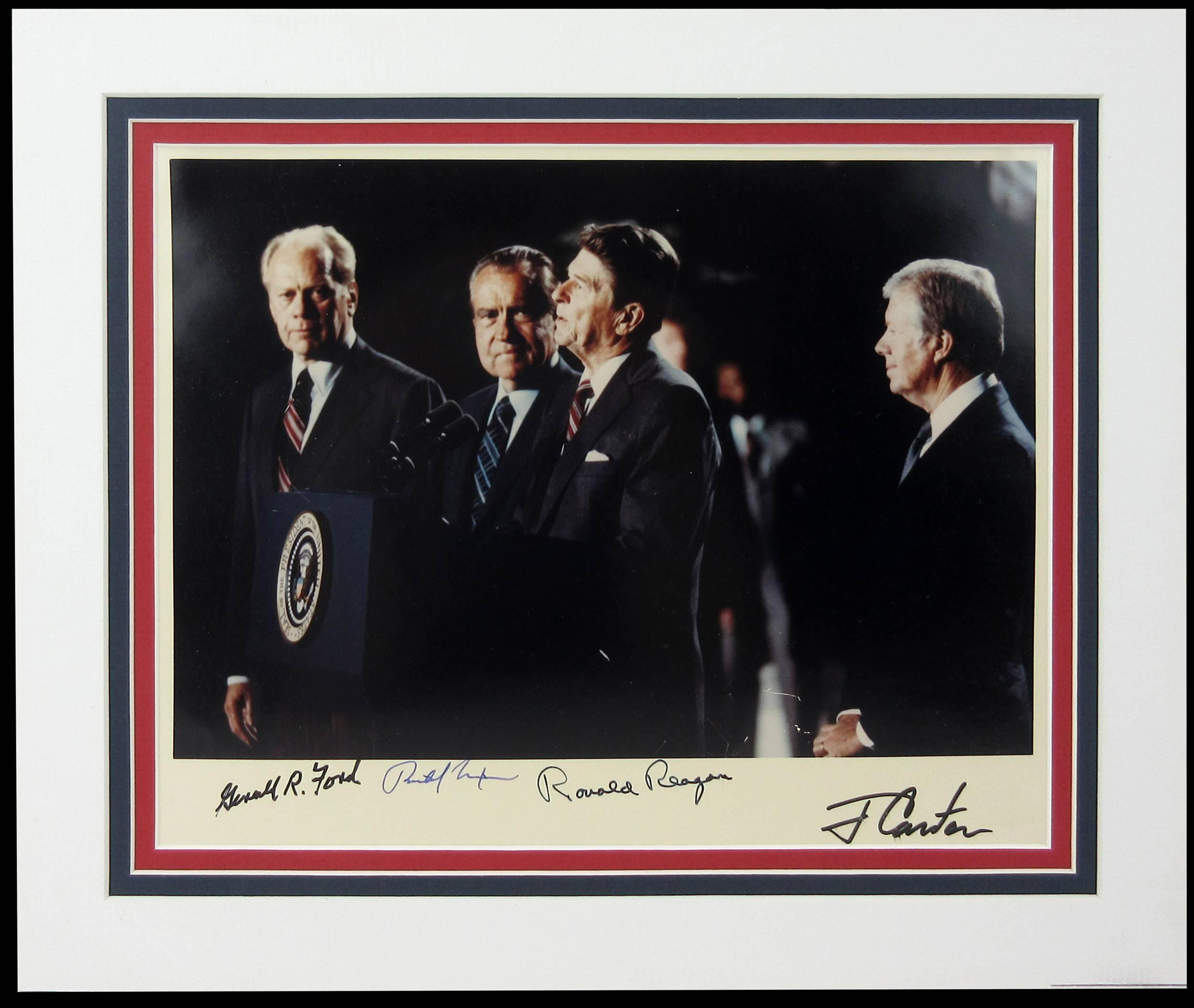 Four Presidents Signed Photo: Reagan, Carter, Ford, Nixon