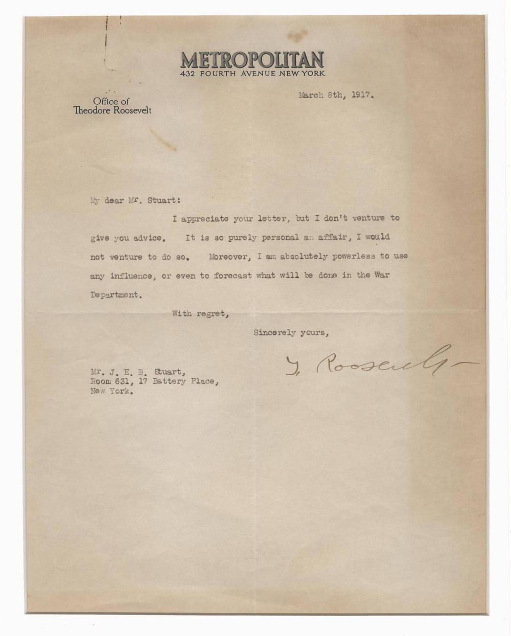 "Theodore Roosevelt TLS to J.E.B. Stuart's Grandson: ""I am powerless to use influence...in the War Department"""