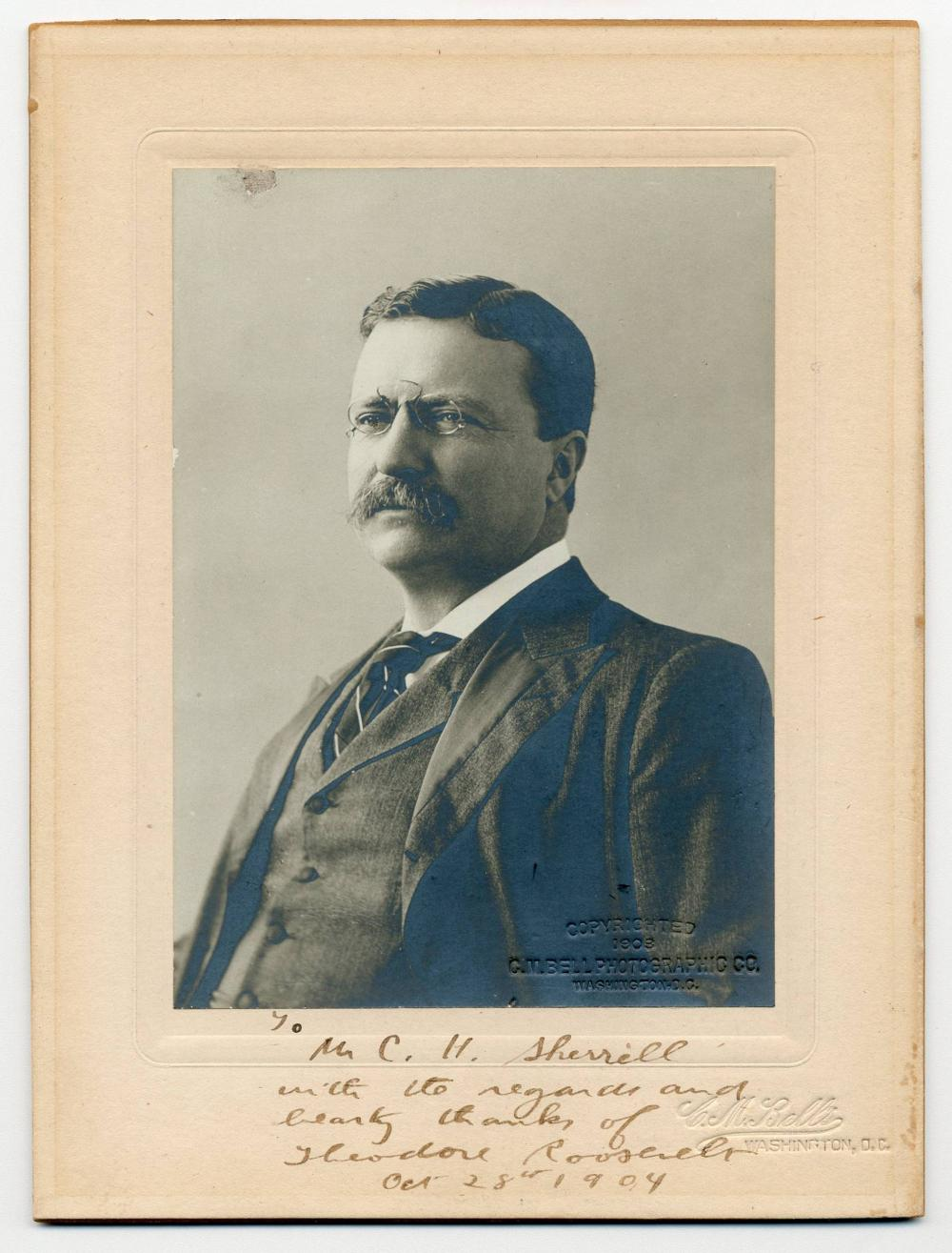 Teddy Roosevelt as President Signed & Dedicated Cabinet Photo