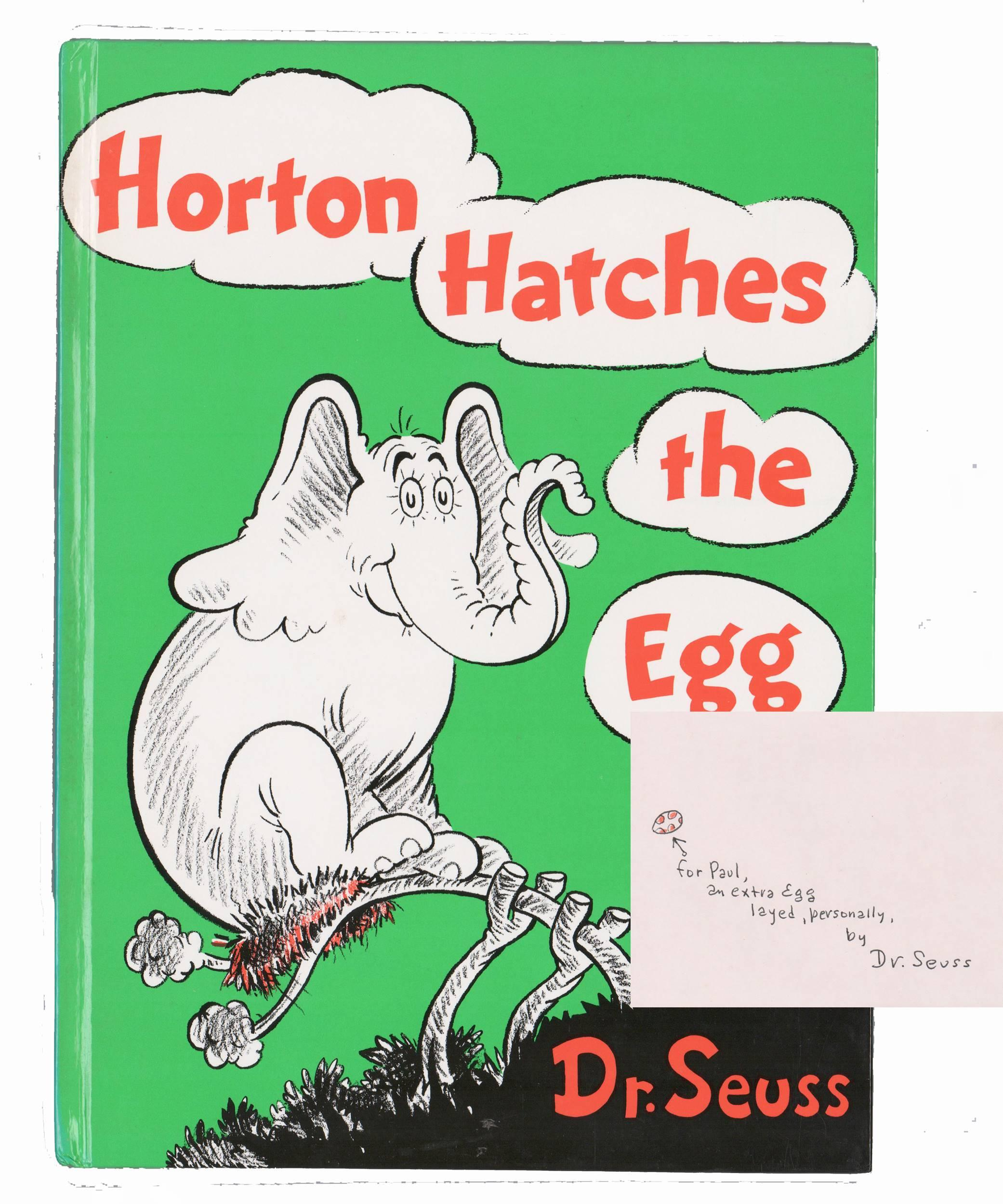 """Dr. Seuss Signed with an Original Drawing """"Horton Hatches The Egg"""""""