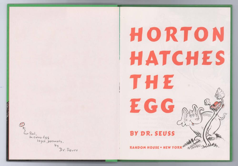 Dr. Seuss Signed with an Original Drawing