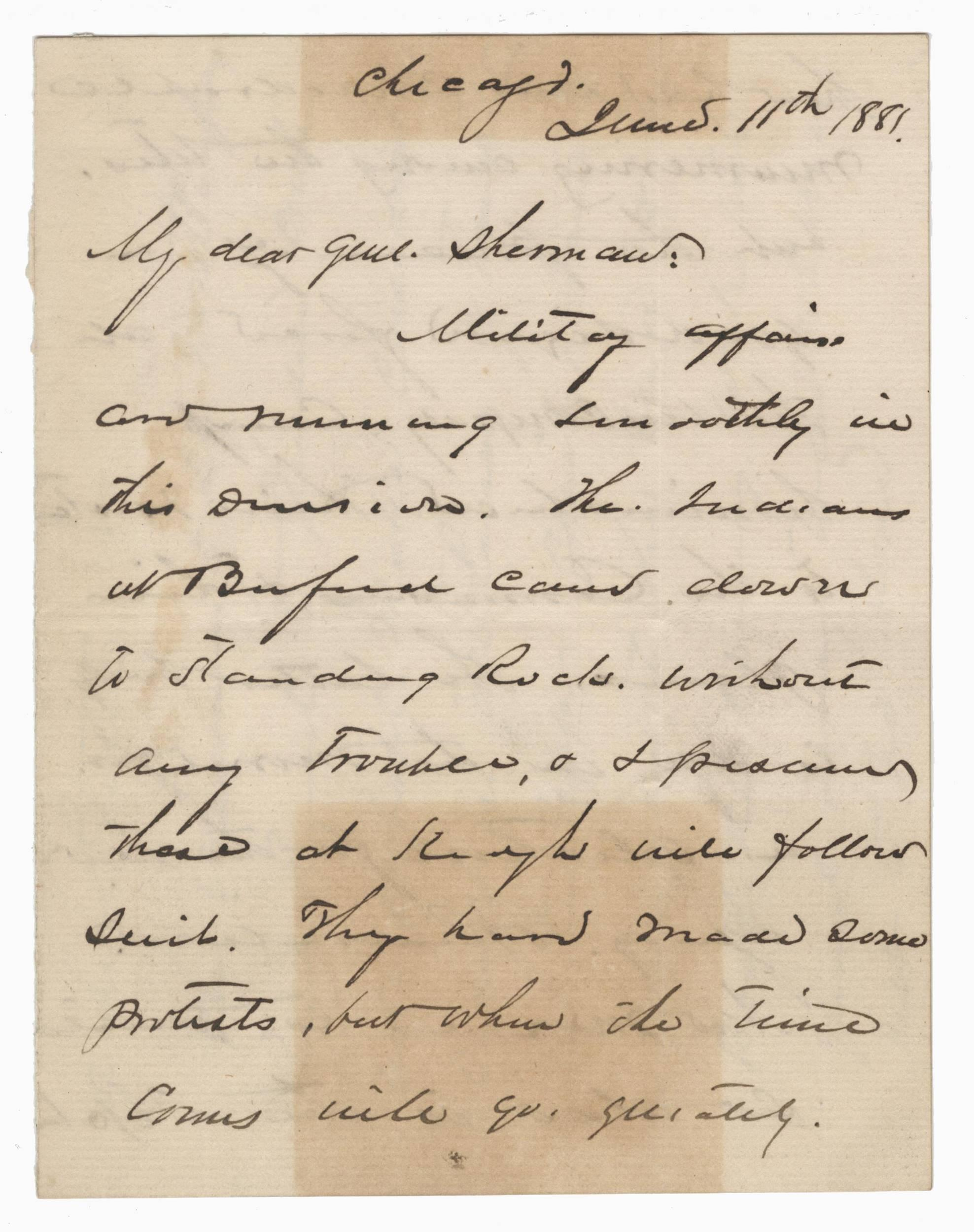 Sheridan ALS to Sherman Re: Indian Protests & Forced Removal