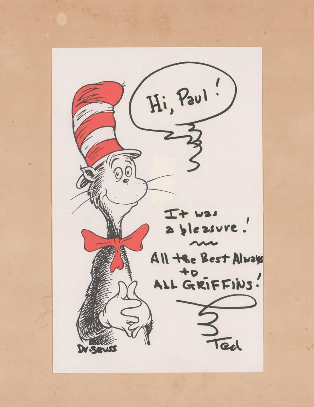 Dr. Seuss Original Drawing with Impeccable Provenance, Scarce Presentation Piece