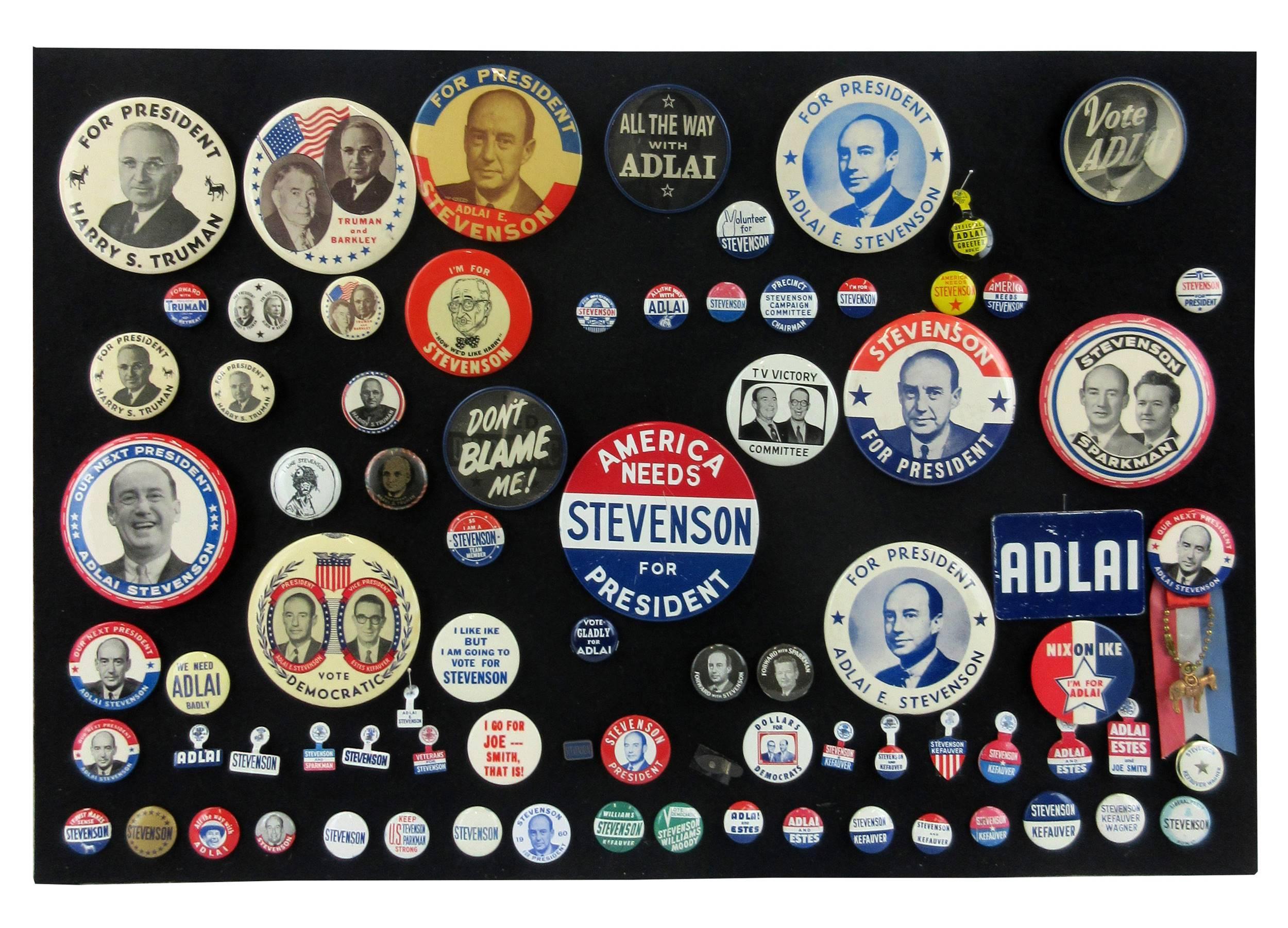 Harry S. Truman, Adlai Stevenson Campaign Pinbacks & Memorabilia, 85+ Pcs