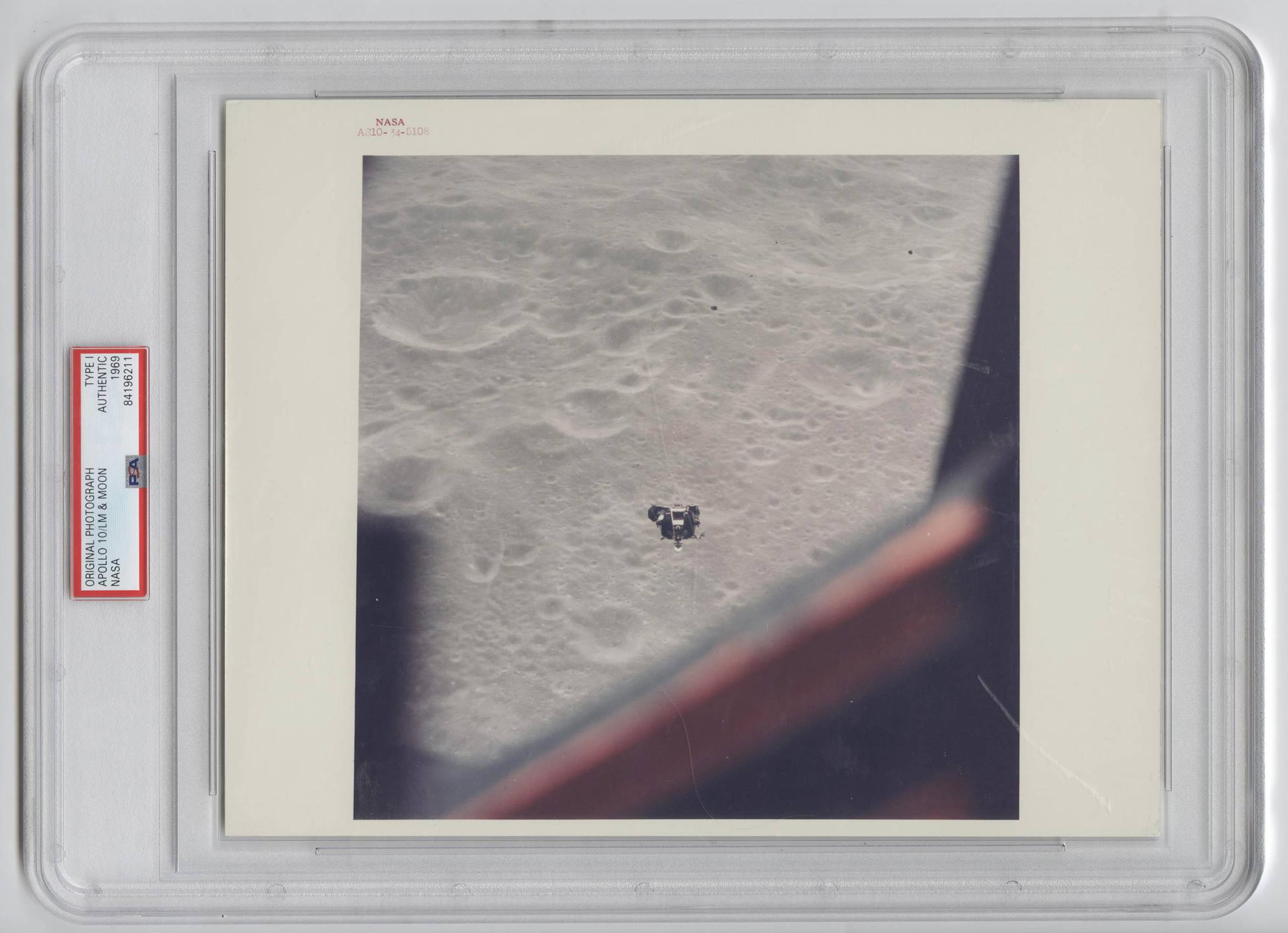 Official NASA Red Number Photo of Apollo 10, Viewed from CSM, PSA Slabbed Authentic Type I