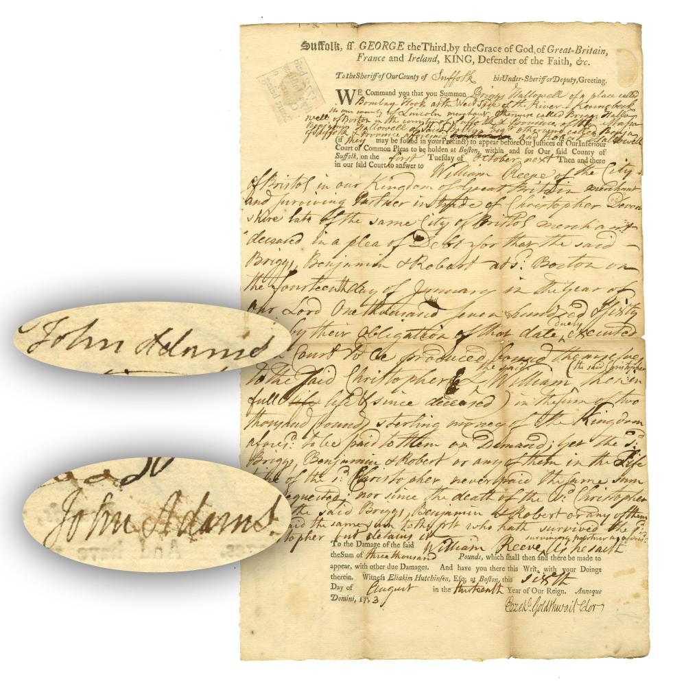 John Adams 2 Superb Signatures on Nice Document, About 25 Words in His Hand