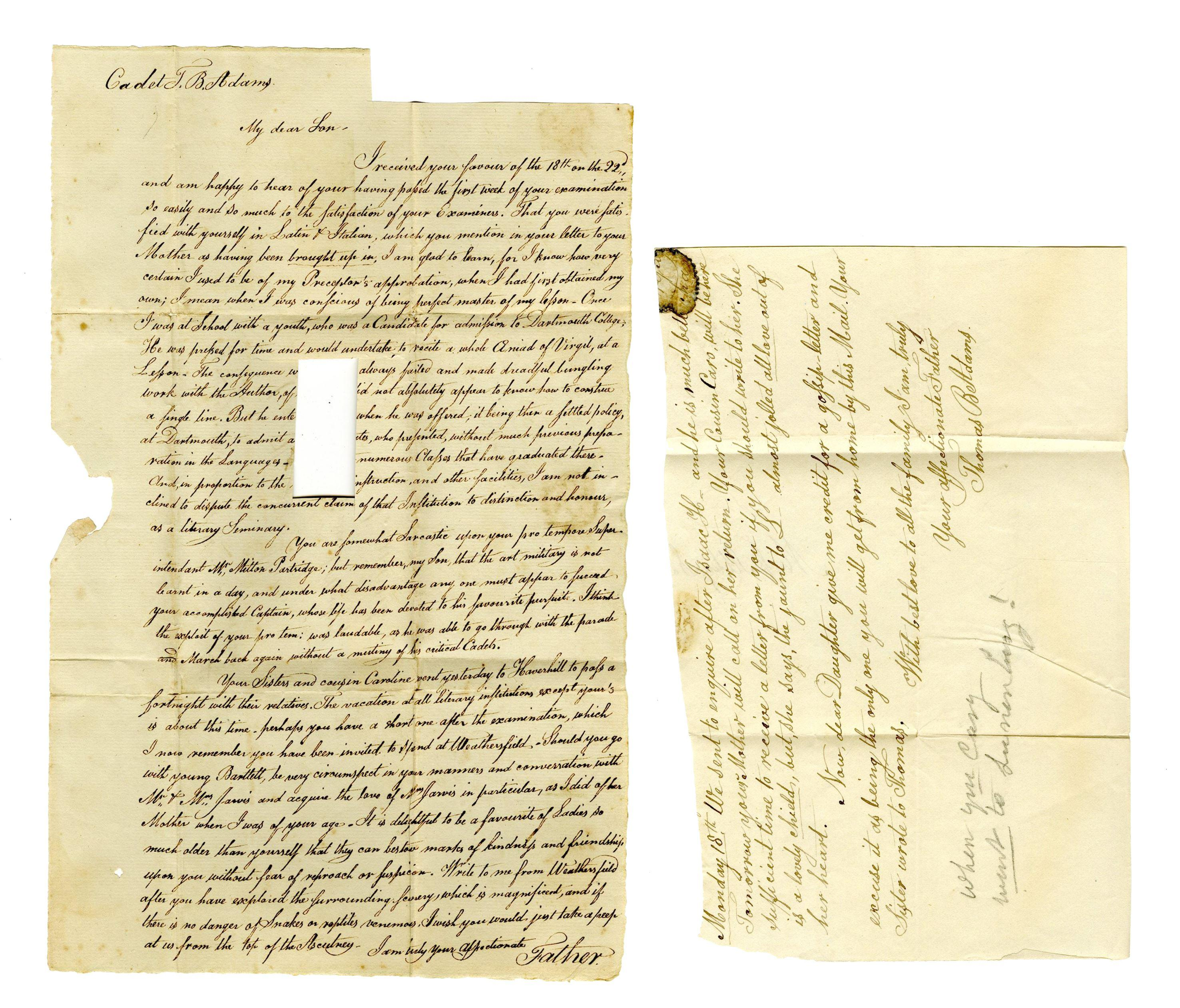 Thomas B. Adams, Youngest Son of John Adams, Writes to His Children