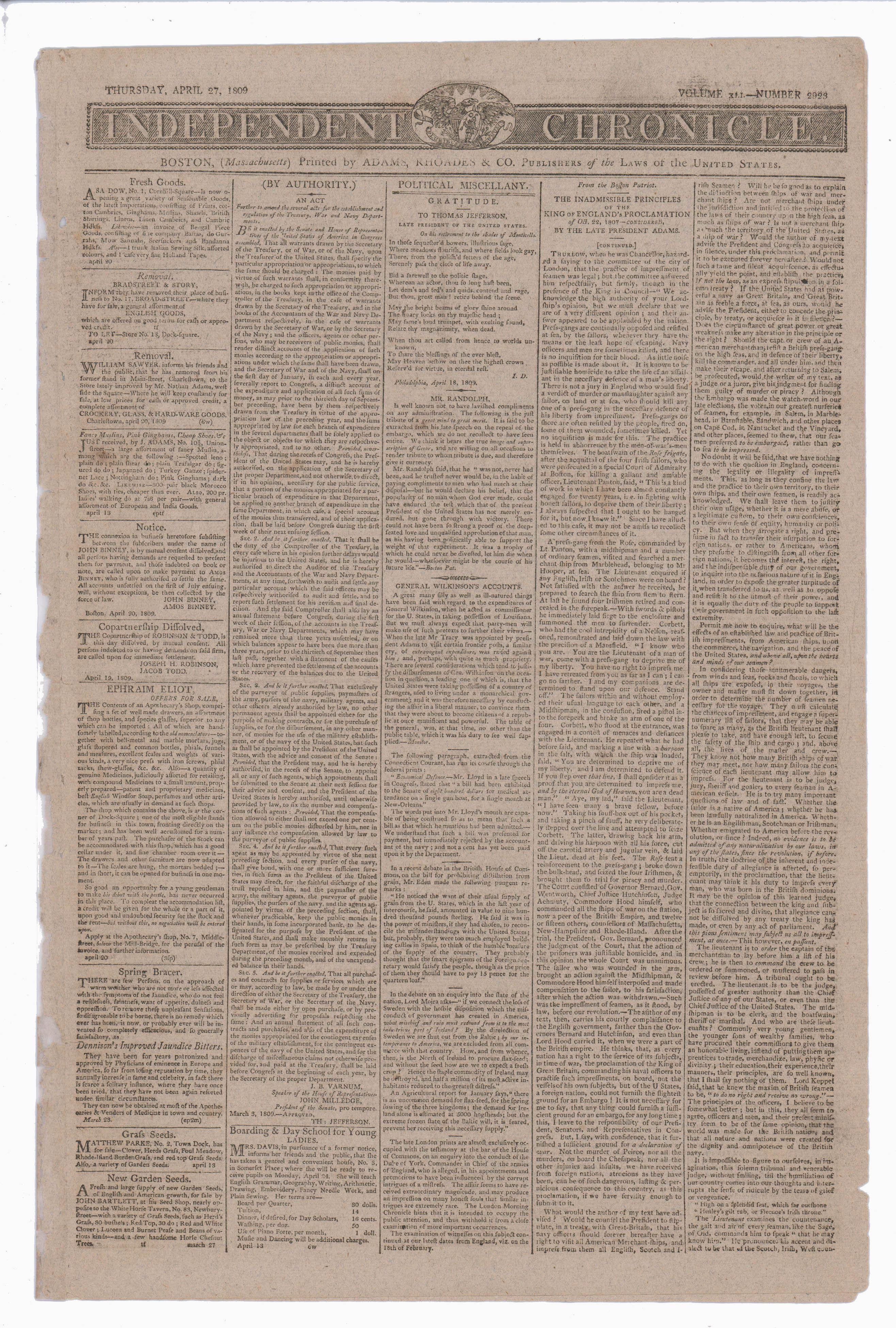 """John Adams, and Thomas Jefferson Articles in 1809 Newspaper """"Independent Chronicle"""" Impressment Leads to War 1812"""