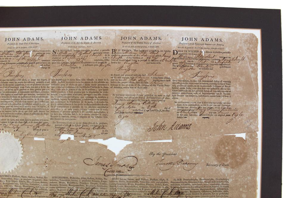 John Adams Four Language Ship's Papers Signed At the End of the Quasi-War