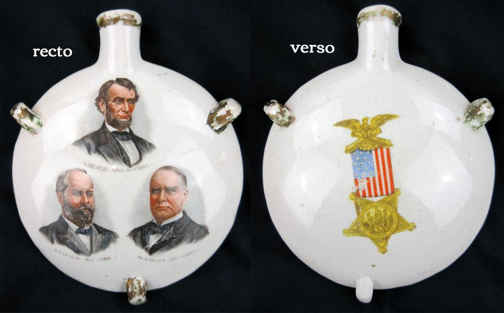 G.A.R. Souvenir Flask of 3 Assassinated Presidents