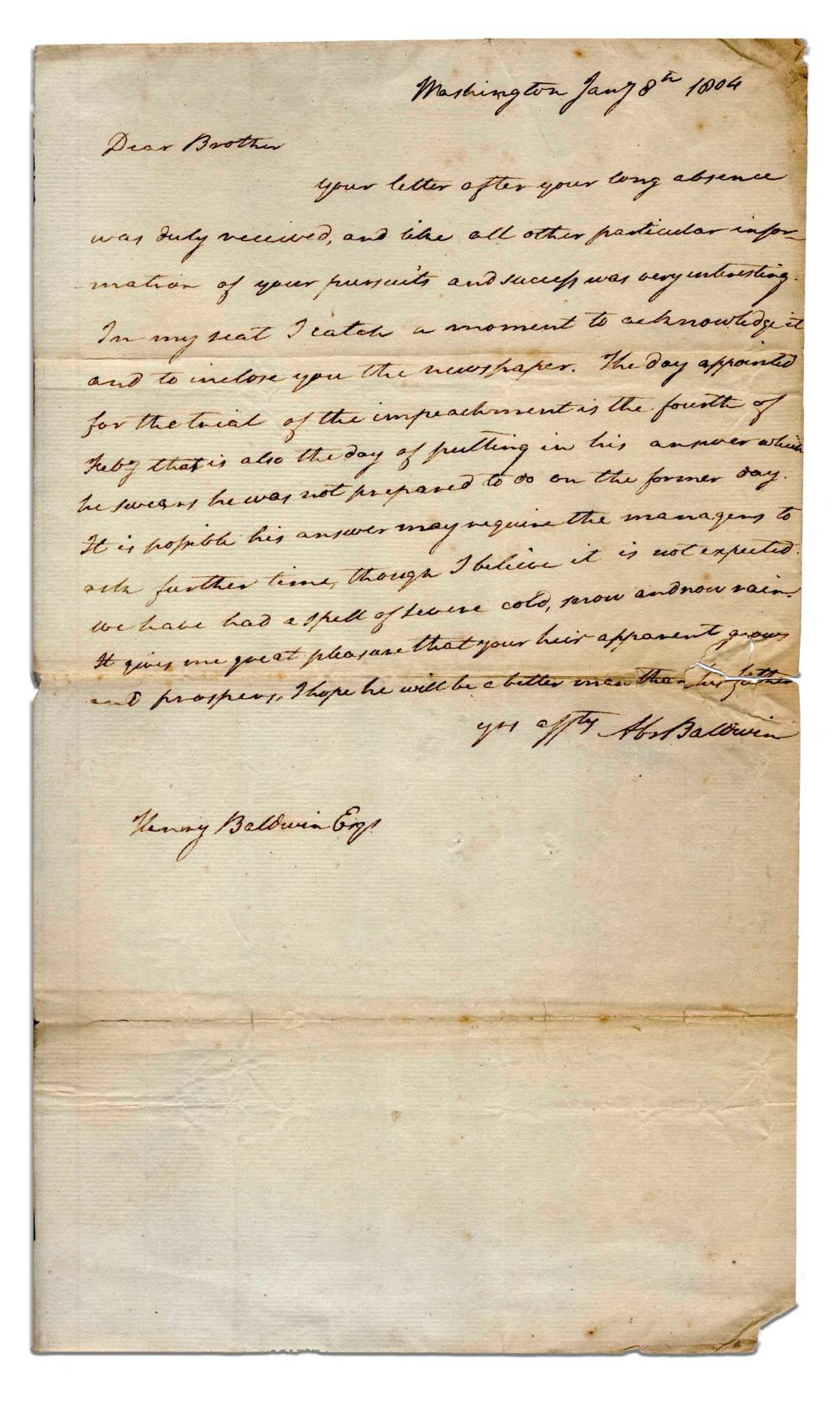 Abraham Baldwin Autograph Letter Signed re: Sam Chase, Among Rarest of Constitution Signers