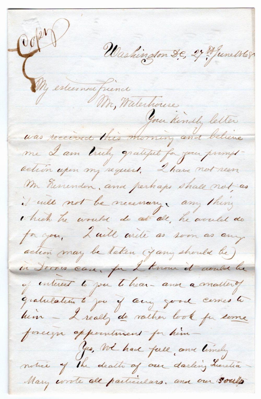 Clara Barton Concerning Prisoner at Andersonville, With Her manuscript Poem