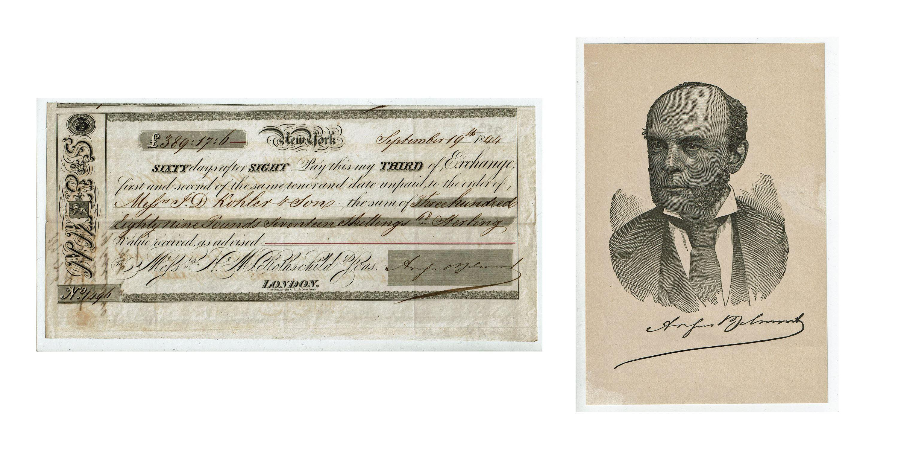August Belmont Signed Sight Draft on the London House of Rothschild