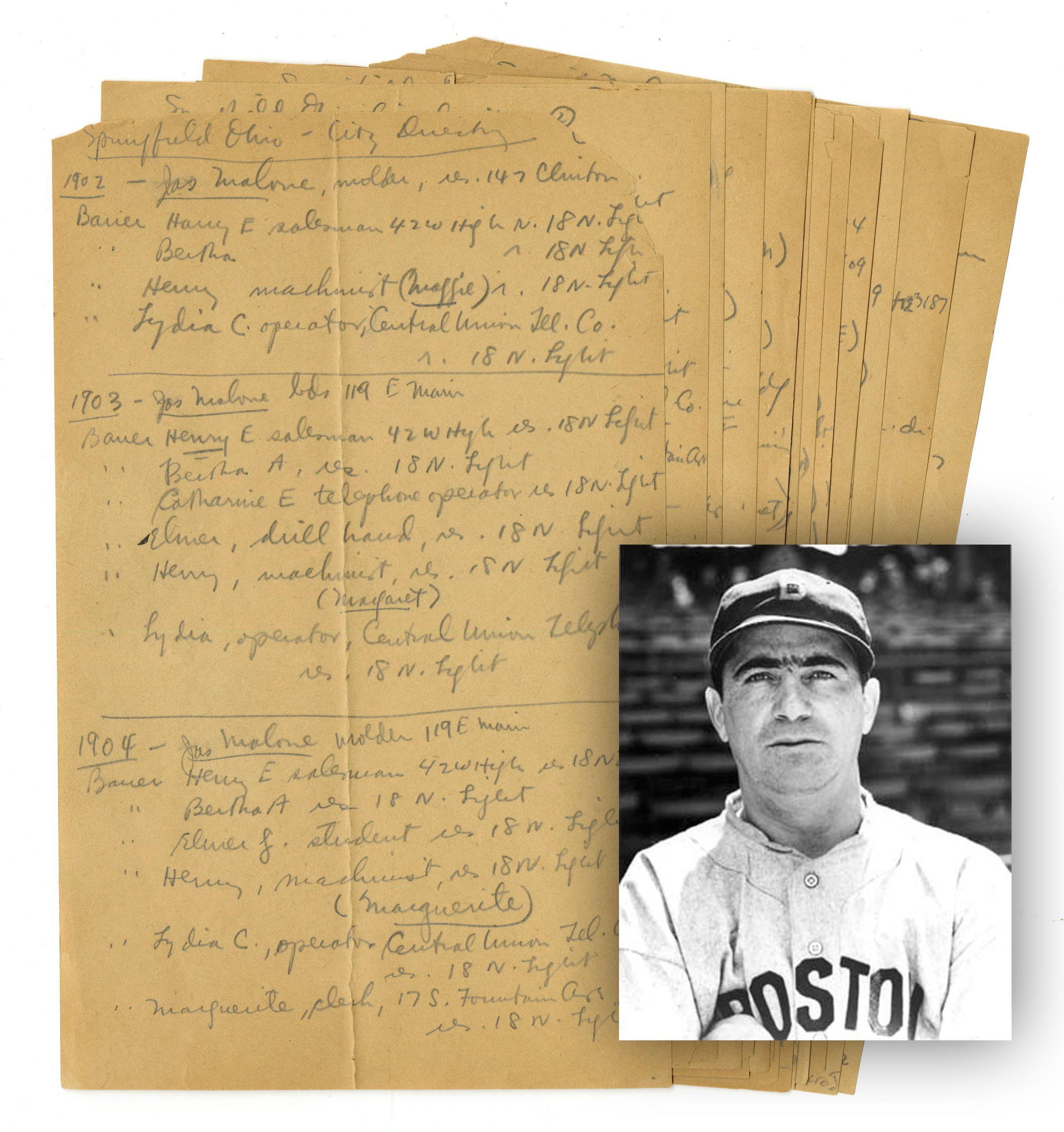 Moe Berg Handwritten Directory Notes on Springfield, OH, from 1902-1936. The Catcher was a Spy