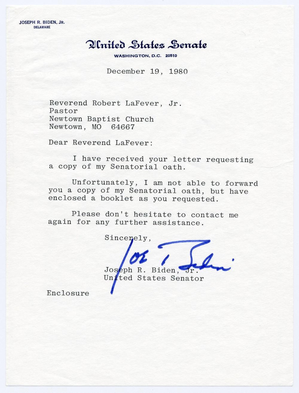 """Joe Biden TLS Re: """"Senatorial oath"""""""