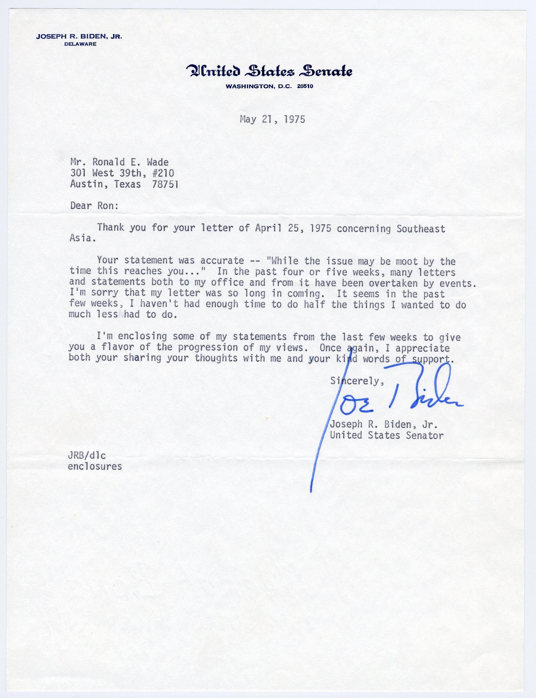 Joe Biden TLS Re: End of Vietnam War