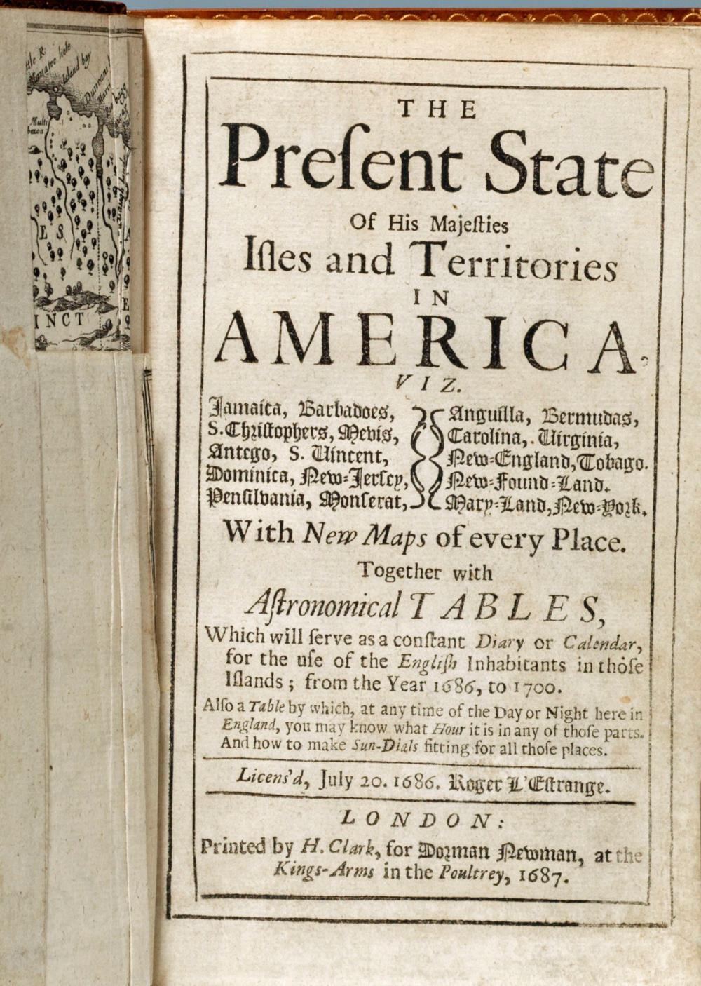R. Blome on His Majesty's Territories in America, 1687 1st Edition with 7 Folding Morden Maps Inc. Carolina, Virginia, New York & Bermuda