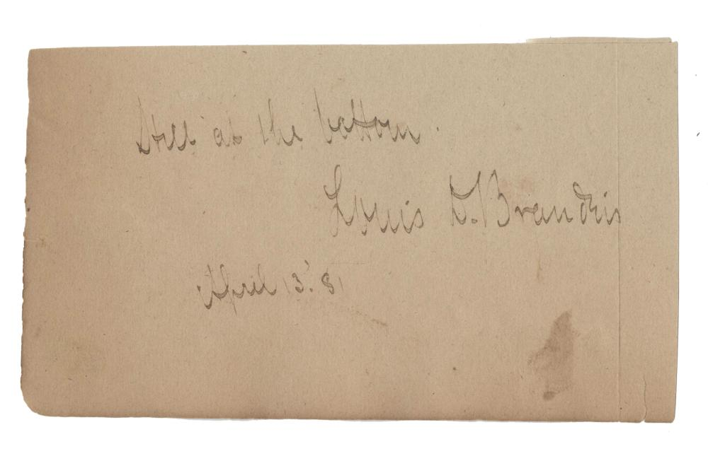 Louis Brandeis Signature W. Inscription