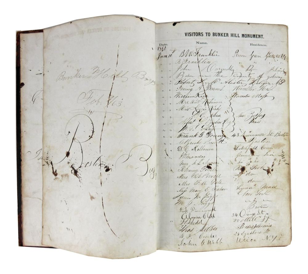 Bunker Hill Monument Remarkable Set of 3 Guestbooks Signed by Mary Lincoln and over 40,000 Visitors During Civil War