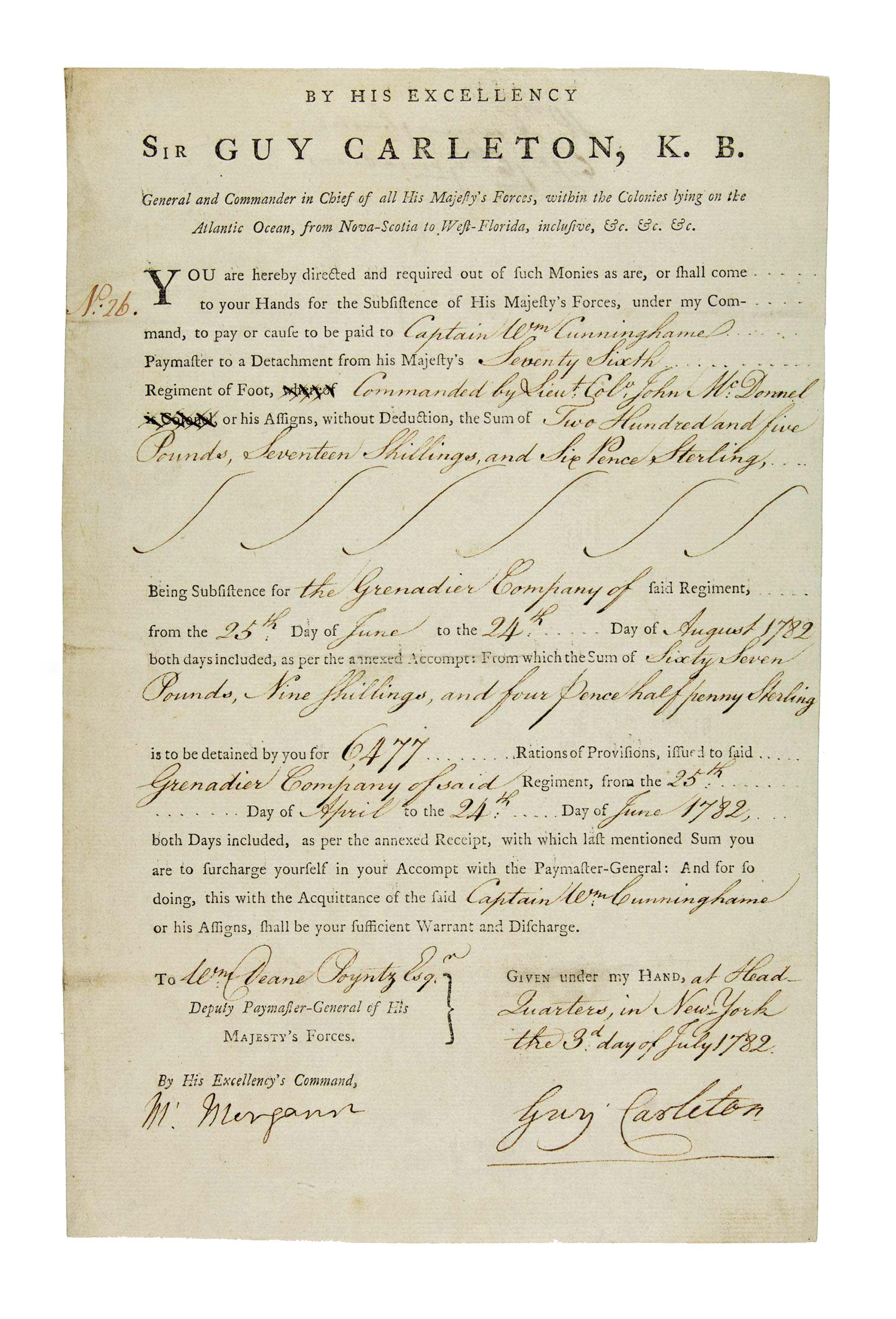 Guy Carleton Superb War Document Written in NY as Commander in Chief of British Forces