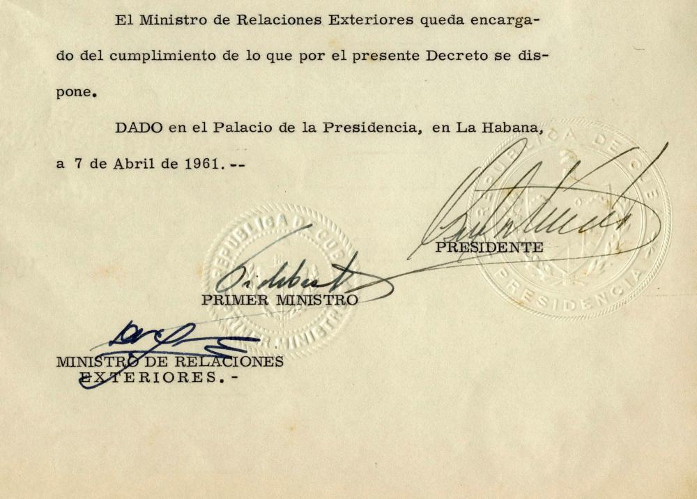 Fidel Castro DS From 1961, Cuba Appoints an Ambassador to Japan