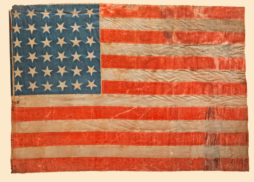 The 1st Post-Civil War U.S. Flag, 1865 36-Star American Parade Flag Commemorating Nevada Statehood