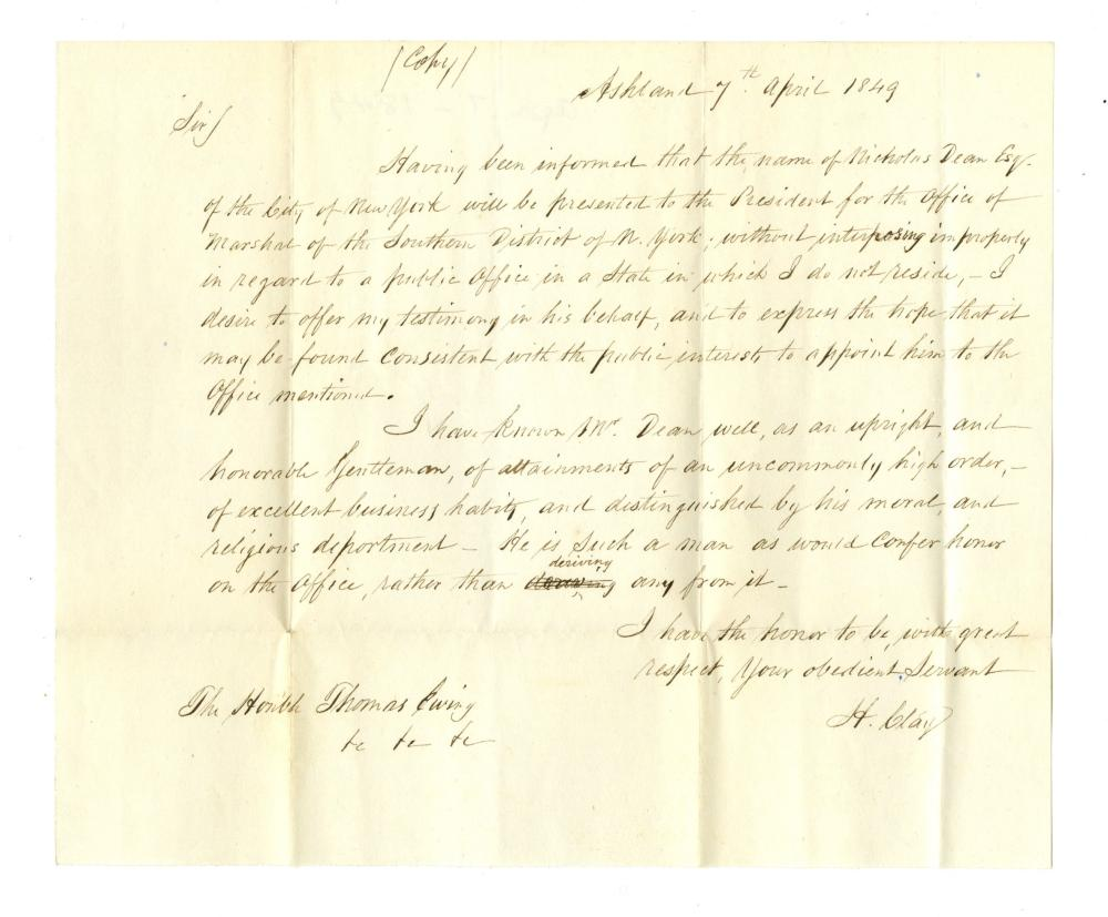 Henry Clay Superb Free Franked Envelope and Copy of a Reference Letter