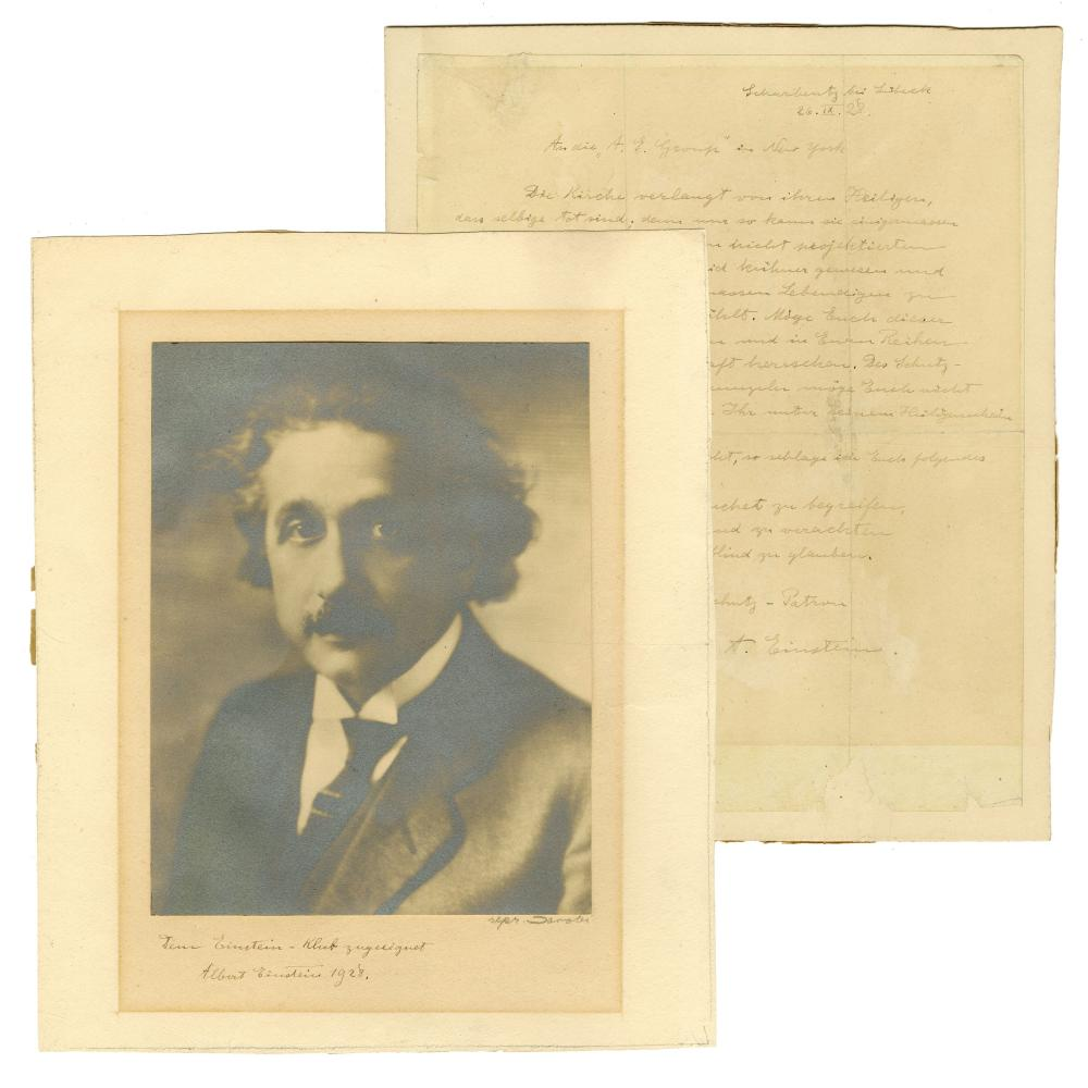 "Einstein Signed Photo & ALS Highly Important Scientific Mottos ""Seek to understand everything...Believe nothing blindly"""