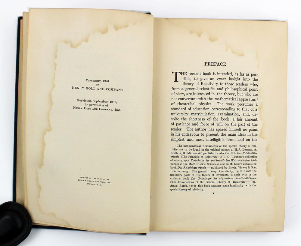 """Albert Einstein Signed Copy of """"Relativity"""" with an Amusing Inscribed Poem"""